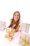 Girl with giftboxes Stock Photos