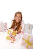 Girl with giftboxes Royalty Free Stock Image