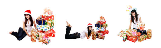 Girl & gifts Royalty Free Stock Images