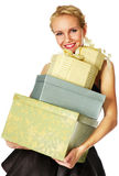 Girl with gifts Stock Photo