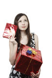 Girl with gifts Stock Images