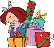 Girl with gifts Stock Photos