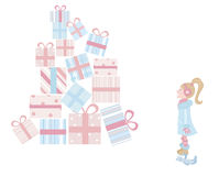 Girl and gifts Royalty Free Stock Images