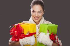 Girl with a gifts Royalty Free Stock Photo