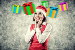 Girl with a gifts Royalty Free Stock Photography