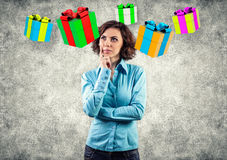 Girl with a gifts Royalty Free Stock Photos