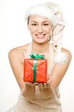 Girl and Gifts Stock Images