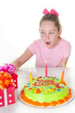 Girl with gifts on birthday Stock Photo