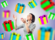 Girl with a gifts Stock Images