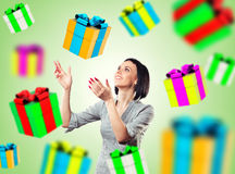 Girl with a gifts Stock Photography