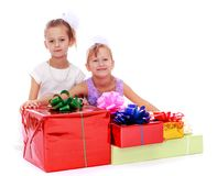 Girl with gifts Royalty Free Stock Image