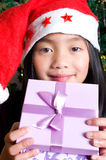 Girl with gifts under the tree Royalty Free Stock Image