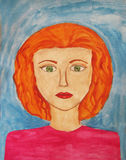 The girl with the ginger hair. Children's artwork Royalty Free Stock Images