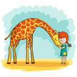 Girl and giraffe. Girl hugging a giraffe. Vector illustration of hand-drawn royalty free illustration