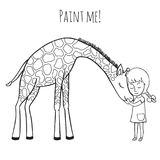 Girl and giraffe. Girl hugging a giraffe. Vector illustration of hand-drawn. Coloring book for adults and children stock illustration