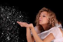 Girl girl blow snow Stock Photos