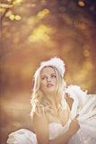 Girl in a wedding dress. Girl in a girl in a wedding dress in the autumn forest Stock Photo