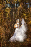 Girl in a wedding dress. Girl in a girl in a wedding dress in the autumn forest Royalty Free Stock Photo