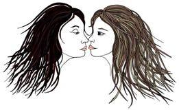 Girl and girl. Woman with woman.Kissing Couple Stock Photo