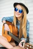 Girl with gitar Stock Photography