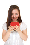 Girl give red heart Royalty Free Stock Photography