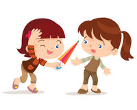 Girl give umbrella friend. Vecto cartoon of cute girl share umbrella for her friend Royalty Free Stock Photo
