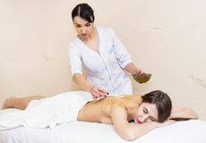 The girl is given a therapeutic massage with bee honey. In the clinic Stock Photos