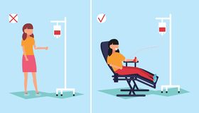 A girl gives blood sitting in a medical chair, giving blood. Donated blood. Vector illustration stock photos
