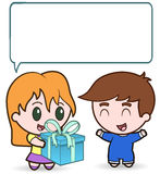 Girl gives Boy Present Royalty Free Stock Photo