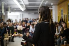 Girl gives a conference stock photography
