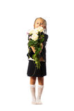 Girl gives a flower Stock Images