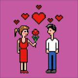 Girl gives flower to a boy, valentines day, pixel art vector illustration. Retro video game style stock illustration