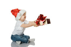 The girl gives a gift Stock Photography