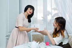 Girl gives gift girlfriend. Tea party. Stock Images