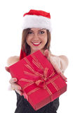 Girl gives gifts. Royalty Free Stock Images