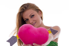 Girl gives her heart Royalty Free Stock Image
