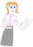 Girl gives a list of paper illustration. Clerk Royalty Free Stock Photo