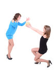 Girl gives to the friend a gift on birthday. Royalty Free Stock Images