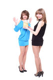 Girl gives to the friend a gift on birthday Stock Photography