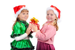 The girl gives to the girlfriend a gift Stock Images