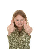 Girl gives two thumbs up Stock Photo