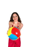 Girl giving ball Royalty Free Stock Image