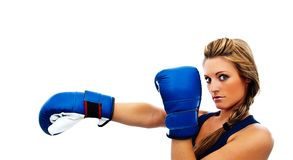 Girl giving a blow-profile boxing Royalty Free Stock Images