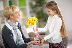 Girl giving a bunch of flowers to her grandmother Stock Photos