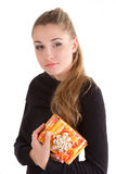 Girl giving and getting gift concept Royalty Free Stock Photography