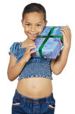 Girl giving a gift Stock Image