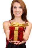 Girl giving gift box Stock Photography