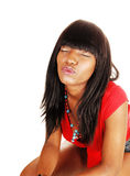 Girl giving a kiss. Royalty Free Stock Photography