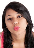 Girl giving kiss Stock Photography