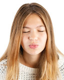 Girl giving kiss Royalty Free Stock Photos